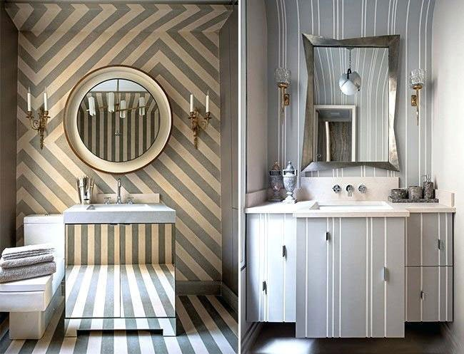 striped bathroom wallpaper for small bathrooms with bold statements